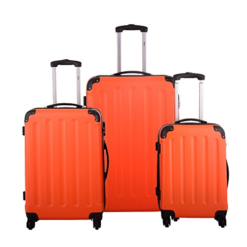 BHC 3Pcs Luggage Travel Set Bag ABS+PC Trolley Spinner Carry On Suitcase Orange (Rolling Slumber Set)