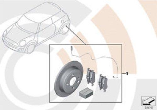 Mini Genuine Rear Brake Discs + Brake Pads Set + Wear Sensor 34212167242