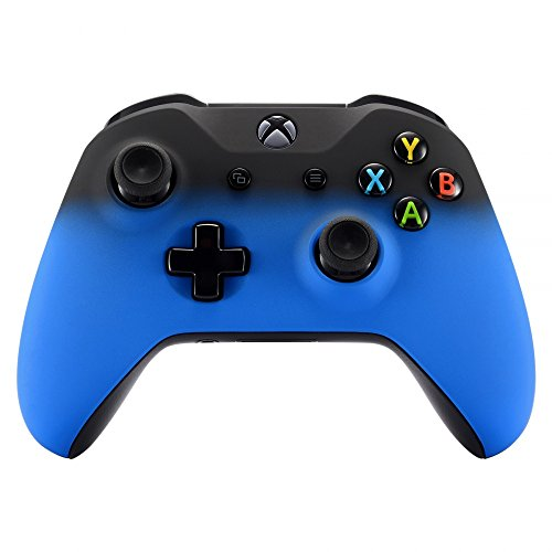 (eXtremeRate Shadow Blue Faceplate Cover, Soft Touch Front Housing Shell Case, Comfortable Soft Grip Replacement Kit for Xbox One S & Xbox One X Controller)