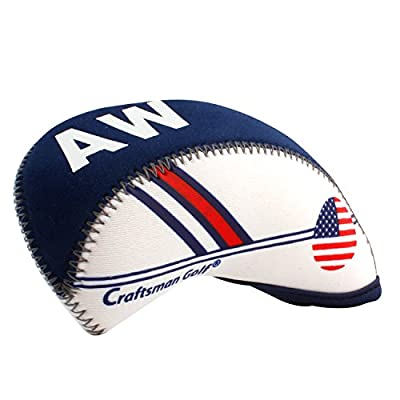 Craftsman Golf White & Blue US Flag Neoprene Golf Club Head Cover Wedge Iron Protective Headcover for Titleist, Callaway, Ping, Taylormade, Cobra, Nike, Etc. by Craftsman Golf