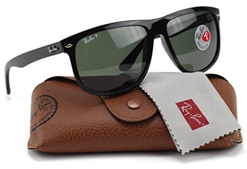 Ray-Ban RB4147 601/58 Shiny Black Frame /Crystal Green Polarized Lens - Ray Ban Boyfriend