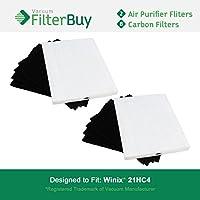 2 Pack - Winix 115115 True HEPA Filters & 8 Carbon Filters. Designed by FilterBuy Winix Plasma Wave Air Purifier Models WAC5300, WAC5500 & WAC6300.