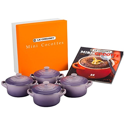 Le Creuset PG1164CB-08BP Stoneware Mini Cocottes and Cookbook (Set of 4), 8 oz, Provence ()
