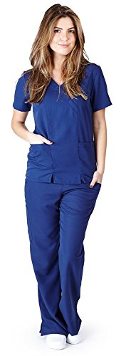 Ultra Soft Brand Scrubs - Premium Womens Junior Fit Two Pocket Crossover Scrub Set, Navy 39186-Small ()