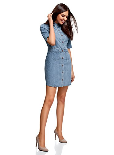 Donna In Jeans Blu Abito Con 7000w Oodji Bottoni Ultra 5qwFIgt