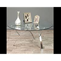 Stylish Round Glass Top Coffee Table - Contemporary Design Makes a Perfect Addition to Any Living Room Decor - Matches Modern Furniture Style - Great Fit for Office/Study/Home Theater/Family Room - Sturdy Metal Design - With Iron Chrome Legs This Table Is Built to Last!
