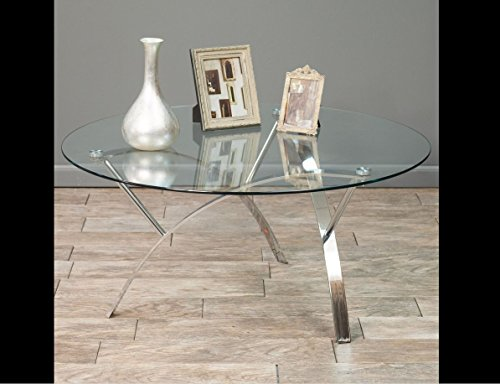 Stylish Round Glass Top Coffee Table – Contemporary Design Makes a Perfect Addition to Any Living Room Decor – Matches Modern Furniture Style – Great Fit for Office Study Home Theater Family Room – Sturdy Metal Design – With Iron Chrome Legs This Table Is Built to Last
