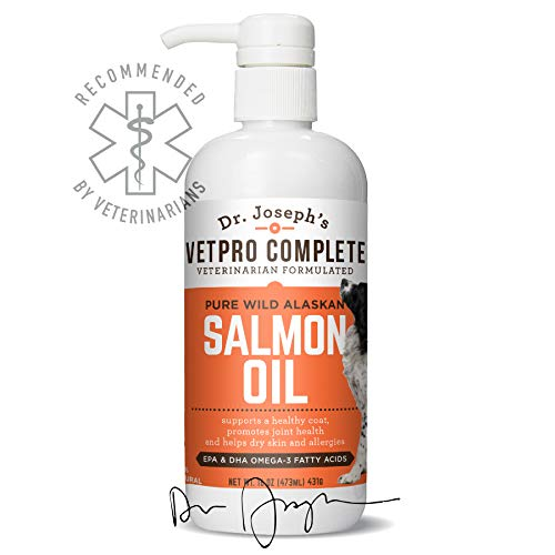 VetPro Complete 100% Pure Wild Alaskan Salmon Oil for Dog & Cat Food - Large 16 oz - Omega 3 & 6 Liquid Fish Oil Supplement - Supports Healthy Coat & Joints - Helps Dry Skin & Allergies