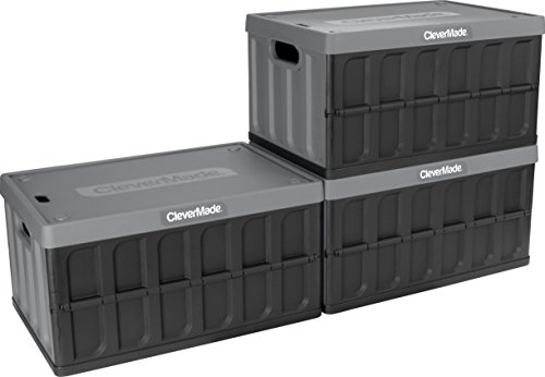 CleverMade 46L Collapsible Storage Bins with Lids - Folding Plastic Stackable Utility Crates, Solid Wall CleverCrates, 3 Pack, Charcoal ()
