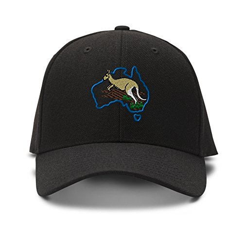 Australia & Kangaroo Embroidery Adjustable Structured Baseball Hat Black (Cap Australia)