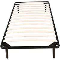 Twin Size Wood Slats Metal Mattress Foundation, Platform Bed Frame, Box Spring Replacement, Quiet Noise-Free, Maximum Under-bed Storage, Non-Slip, Bed Frame 4 Legs 600lbs Bedroom Furniture, black