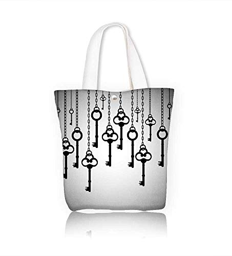 Canvas Tote Bag silhouettes of old keys chain links Hanbag Women Shoulder Bag Fashion Tote Ba W21.7xH14xD7 INCH