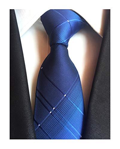 Navy Blue Mens Boy Ties Stylish Check Pattern Skinny Neckties Gift for ()