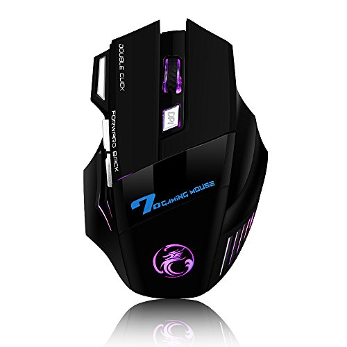 VersionTech 7-Button USB Wired Gaming Mouse with 7 LED Lights for Mac Laptop PC Computer(Black)