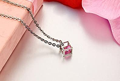 3Aries Stainless Steel Couple Necklaces Silvery Cube Frame w// Pink//Transparent Zirconia Women//Men Necklace