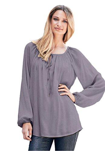 Neck Peasant Blouse (Ellos Women's Plus Size Tie Neck Peasant Tunic Dark Lavender,3X)