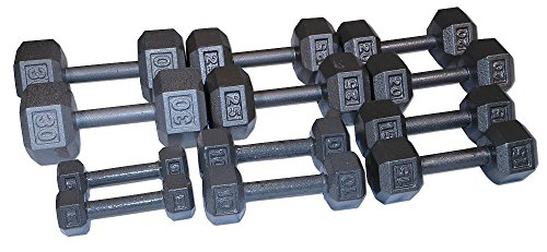 5-30 Lb. Cast Iron Hex Dumbbell Set