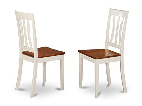 (East West Furniture ANC-WHI-W Kitchen/Dining Chair Set with Wood Seat, Buttermilk/Cherry Finish, Set of 2)