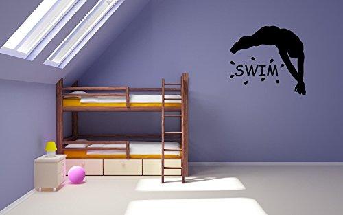 (Swim Swimming Wall Decal Sticker Black or White Swim Team