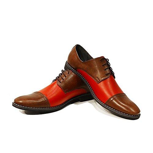 PeppeShoes Modello Elia - Cuero Italiano Hecho A Mano Hombre Piel Rojo Zapatos Vestir Oxfords - Cuero Cuero Suave - Encaje