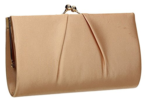 Katy Satin Frame Click Womens Party Prom Wedding Ladies Clutch Bag - Champagne Gold by SwankySwans