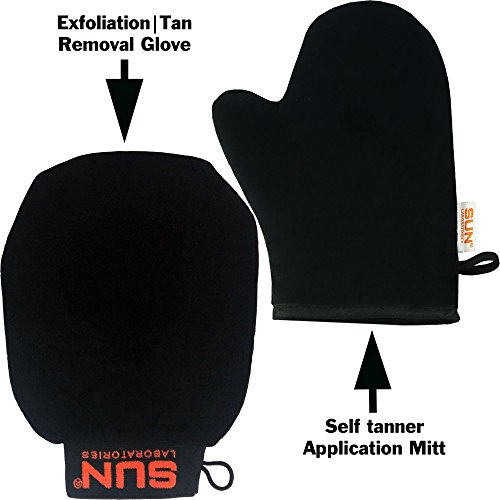 Self Tanner Application Mitt + Body Exfoliation Glove Tan Remover And Pre Tan Prep - Use these Products To Get A Perfict Self Tan Every Time | Sunless Tanning Cream Applicator Mitt by Sun Laboratories