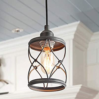 LALUZ 1-Light Industrial Mini Wire Pendant Lighting, Metal Cage Shade, Silver Brushed