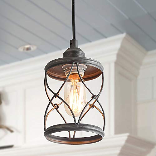 LALUZ 1-Light Industrial Mini Wire Pendant Lighting, Metal Cage Shade, Silver Brushed ()