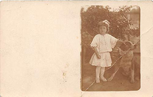 People and Children Photographed on Postcard, Old Vintage Antique Post Card Girl with Dog Unused