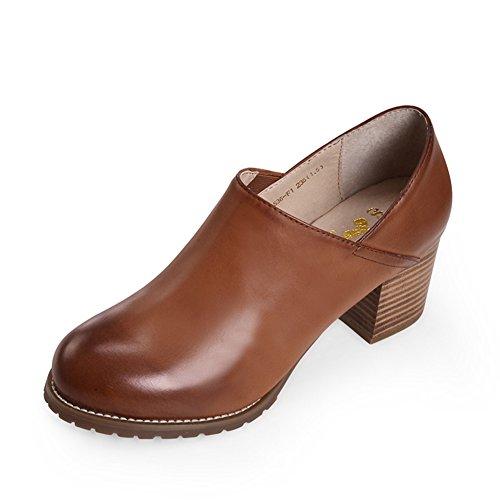 Tacones Gruesos Moda Mujer Alto A Cabeza zapatos Redonda Con confort Zapatos Otoño Talón De Del z85qxvw