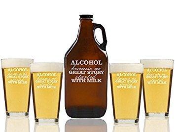 Chloe y Madison 'alcohol porque sin gran Historia comenzó con leche' cerveza ámbar jarra de cerveza y vasos de pinta, juego...