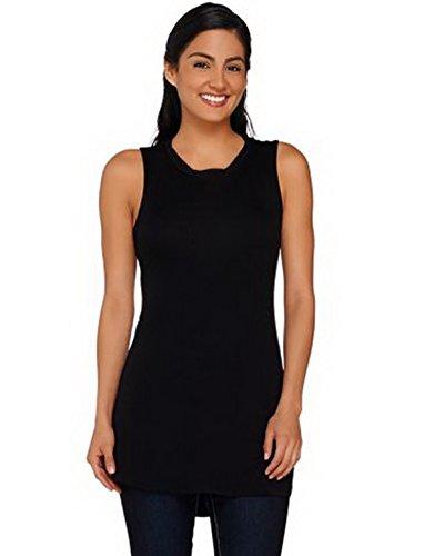 LOGO by LORI GOLDSTEIN Womens Chiffon Neck Jersey Top 210383RM (X-Small, Black)