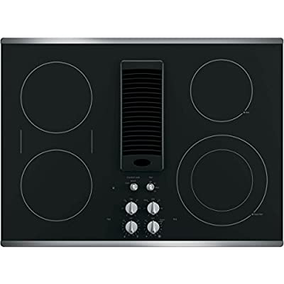 """GE Profile 30"" Downdraft Electric Cooktop Glass Top with Stainless Steel Trim PP9830SJSS"