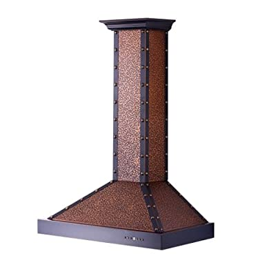 Zline KB2-EXB-42 Classic 760 CFM 42 Inch Wide Outdoor Approved Wall Mounted Rang, Embossed Copper