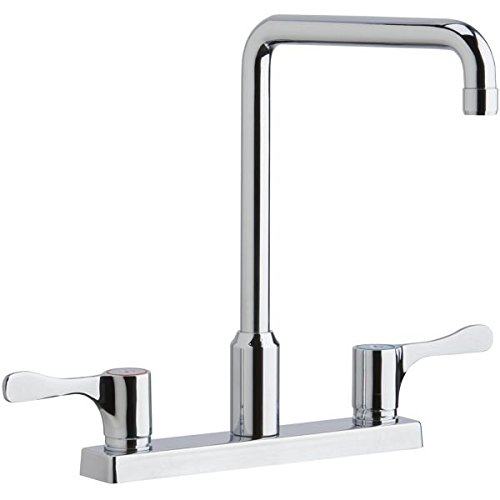 (Elkay LKD2442BHC Centerset Exposed Deck Mount Faucet with Arc Spout and 4
