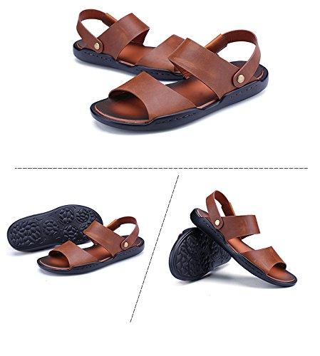 estate vera pelle Uomini sandali Uomini Tempo libero sandali Doppio uso scarpa tendenza Il nuovo traspirante Uomini scarpa ,Marrone,US=7.5,UK=7,EU=40 2/3,CN=41