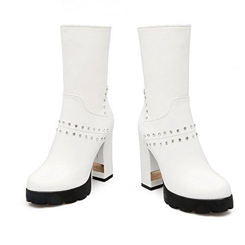 AllhqFashion Damen Rein PU Niedriger Absatz Reißverschluss Rund Zehe Stiefel, Weiß, 34