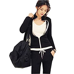 Forlisea Women's Casual Zipper Up Hooded and Sweat Pants Set Sport Tracksuit 2 Pieces