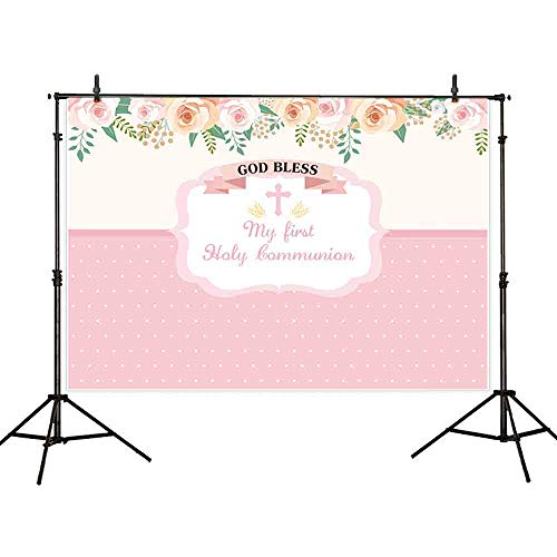 Allenjoy 7x5ft My Pink Flora First Holy Communion Photography Backdrop Background for God Bless Birthday Baby Shower Large Party Banner Decoration Celebration Dessert Table Photobooth Prop