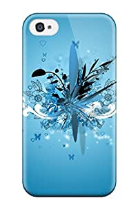 For Lelean Boghorian Iphone Protective Case, High Quality For Iphone 4/4s Surrealistic Pillow Vector Design Blue Butterflies Skin Case Cover
