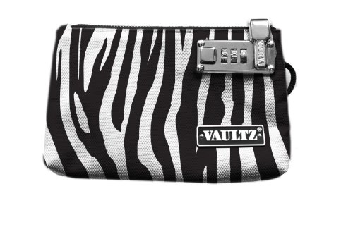 Vaultz Locking Zipper Pouch, 5 x 8 Inches, Zebra (VZ00474)