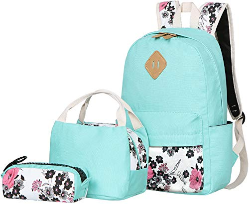 (BLUBOON Teens Backpack Set Canvas Girls School Bags Bookbags 3 in 1 (Water Blue-14))