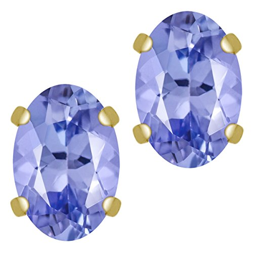 Gem Stone King 1.00 Ct Oval 6x4mm Tanzanite Solid 14K Yellow Gold Stud Earrings