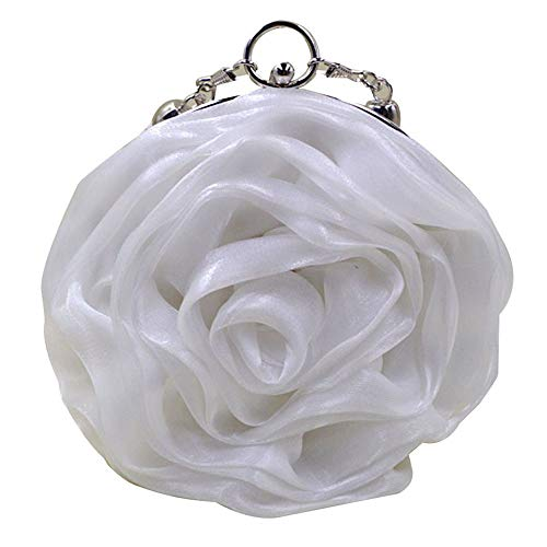 Buddy Women Rose Shaped Clutch Soft Satin Wristlet Handbag Wedding Party Purse White