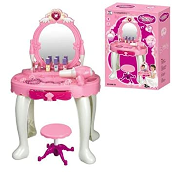 Perfect DURABLE NEW KIDS GIRLS DRESSING TABLE MIRROR PLAY SET GLAMOUR BEAUTY MAKEUP  GAME TOY GIFT