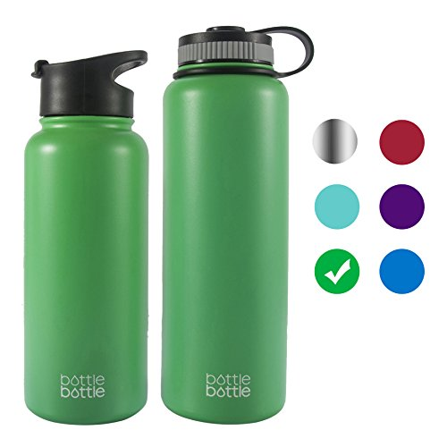 bottlebottle 40 oz Insulated Stainless Steel Water Bottle with Bonus Lid, Double Wall Vacuum Sealed Flask, Wide Mouth, BPA Free, Cold 24 Hrs/Hot 12 Hrs - Spring Mint Green
