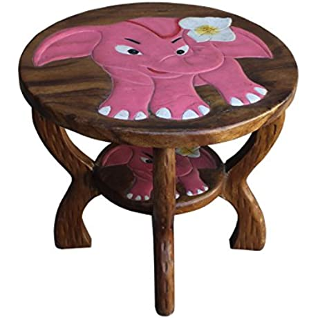 Round Pink Elephant Brown Wood Side Table Acs2501