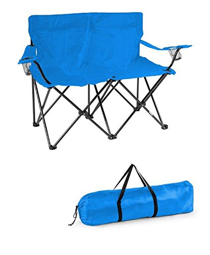 Frame Loveseat - Trademark Innovations Loveseat Style Double Camp Chair with Steel Frame, Blue
