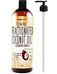 Molivera Organics Fractionated Coconut Oil 16 oz. Premium Grade A, 100% Pure MCT Coconut Oil for Hair, Skin, Massage and Aromatherapy Carrier Oils – Great for DIY - UV Resistant BPA Free Bottle