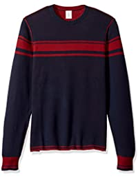 Men's Reversible Chest Striped Crew Sweater